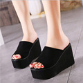 New 2016 Female   Wedges Sandals Wild Suede High Heels Wedges Thick Bottom Non-slip Slippers Flip Flops  Women Shoes