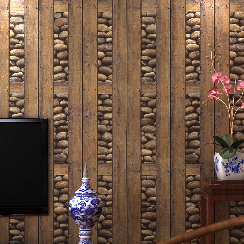 3D Stone Wood Wallpaper Vintage Wall Paper Waterproof PVC Wallpapers 3D Wall Panels Living Room Study Background Wall Home Decor 3d coconut tree beach sunshine pvc wall sticker sea water stone blue sky full color decals home decor page 2