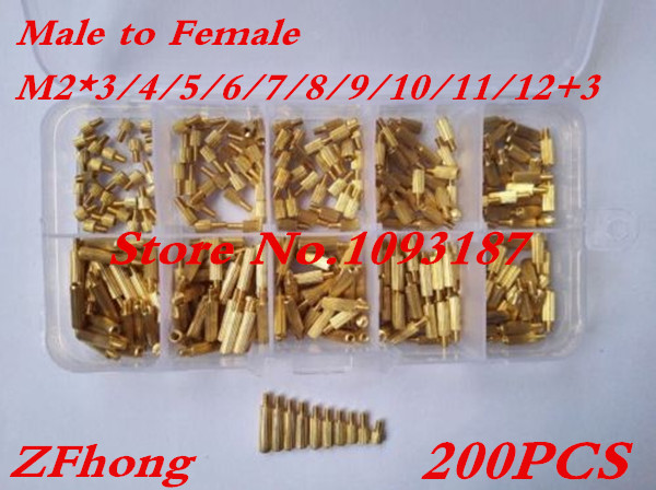 200pcs M2 Male To Female Long Screw Bolt Brass Standoff Spacer Assortment Set m3x35mm 6mm male to female thread 0 5mm pitch brass hex standoff spacer 10pcs