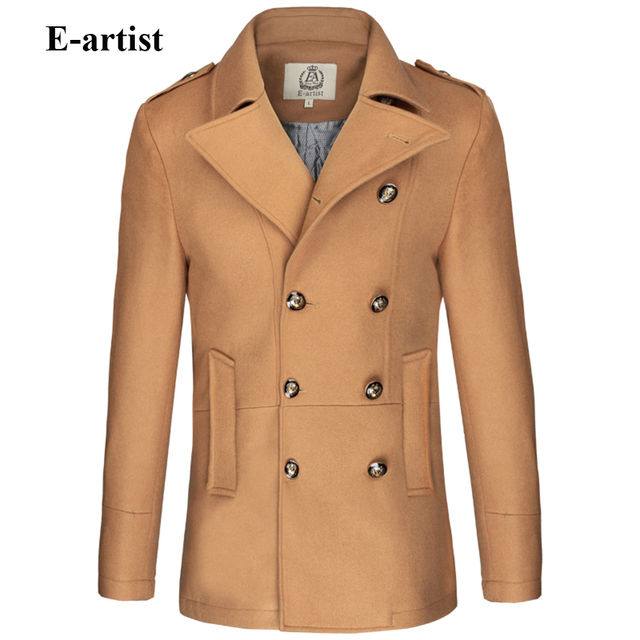 E-artist Men's Slim Fit Double Breasted Wool Trench Coat Male Warm Winter Jackets Peacoats Outerwear Overcoats Plus Size 5XL N31