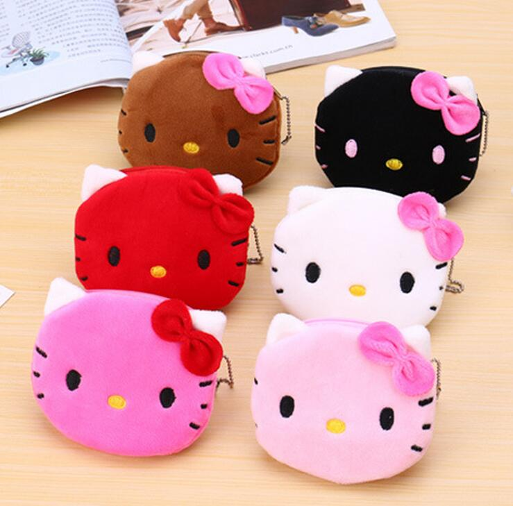 M251 Cute Cartoon Pets Bowknot Cat Personality Plush Coin Purse Wallet Card Bag Girl Women Student Gift Wholesale
