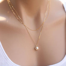 Hot Fashion Double Chain Simulated Pearl Necklace Pendant Gold Silver Color for Women Wedding Bride Jewelry Gift(China)
