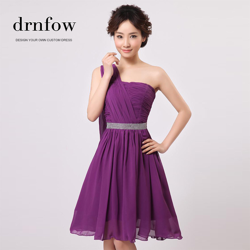 2017 New Free Shipping Short Plus Size One Shoulder Chiffon Purple ...