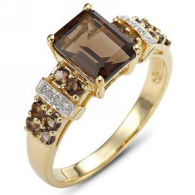 SuoHuan Size 6-11 Charm Hot Rings For Women Brown Zircon Stone Crystal Gold Fill