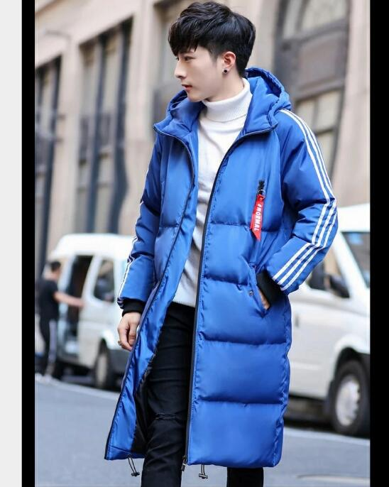 Free shipping 2018 hot style men's down padded jacket Korean version slim long style casual padded jacket in pure color 18
