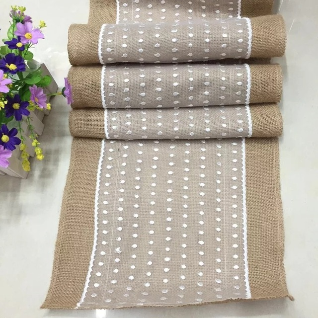 30X275cm Hessian Burlap Table Runner With White Lace Rustic Wedding Centerpieces Vintage Decoration Mariage Casamento