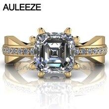 Unique Modern Engagement Wedding Ring 14K Solid Yellow Gold 2 5CT Asscher Cut Moissanites Lab