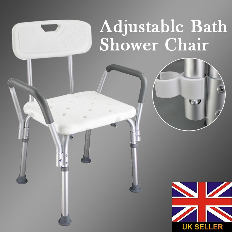 MAYITR Adjustable Height Aluminum Mobility Bath Shower Chair Aid Seat Stool Backrest Chair bathroom folding seat shower stool shower wall chair stool old people anti skid toilet stool bath wall chair