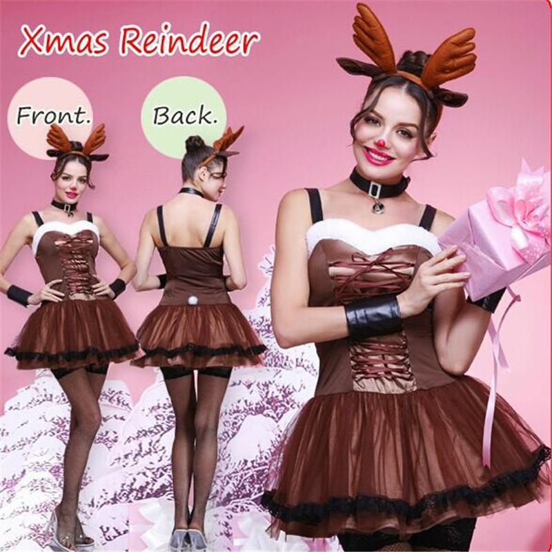 new Sexy States Coffee Chiffon reindeer Xmas Dress clothing color temptation high quality Europe United women Christmas costumes