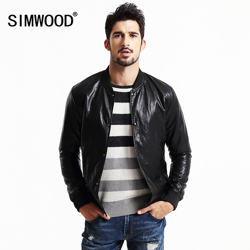 SIMWOOD 2018 New Spring PU Leather Jacket Men Fashion ...