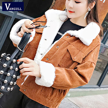 Vangull Winter Women Corduroy Jackets Single Breasted Thicken Coat 2019 Autumn New Casual Solid Long Sleeve Velvet Outerwear