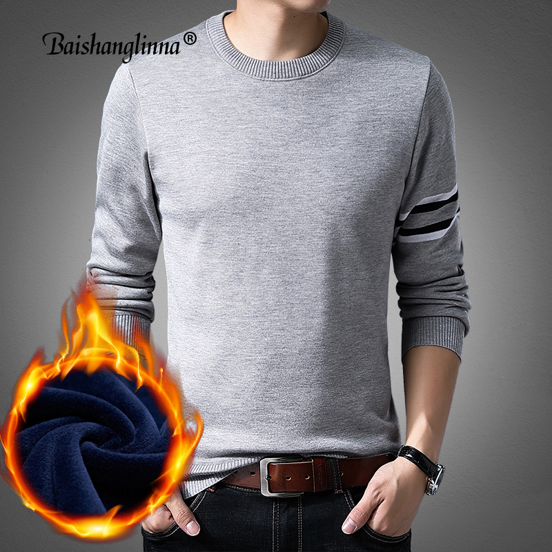 Baishanglinna 2019 Winter Casual Men's Sweater O-Neck Striped Slim Fit Knittwear Mens Sweaters Pullover Men Pull Homme 18109