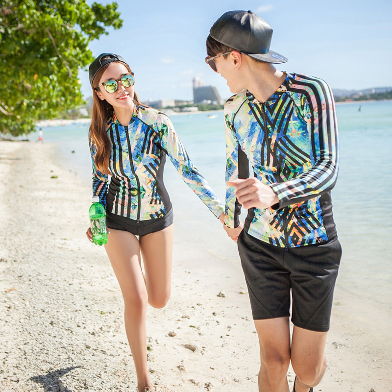 Rash Guards Plus Size Couples Surfing Set 2018 New Print Long Sleeves with Shorts Brief Lovers Two Pieces Swimsuit Front Zipper цена