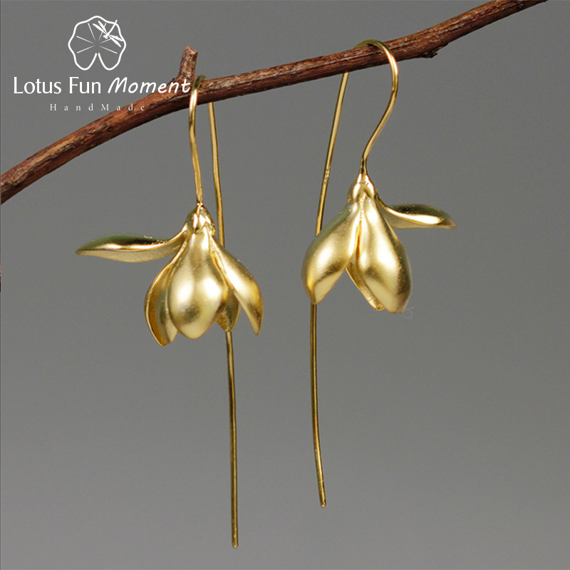 Lotus Fun Moment Real 925 Sterling Silver Handmade Designer Fashion Jewelry Elegant Magnolia Flower Dangle Earrings for Women