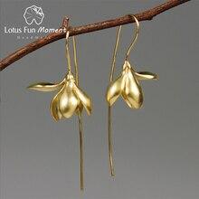 Lotus eğlenceli Moment gerçek 925 ayar gümüş el yapımı tasarımcı moda takı zarif manolya çiçek Dangle küpe kadınlar için