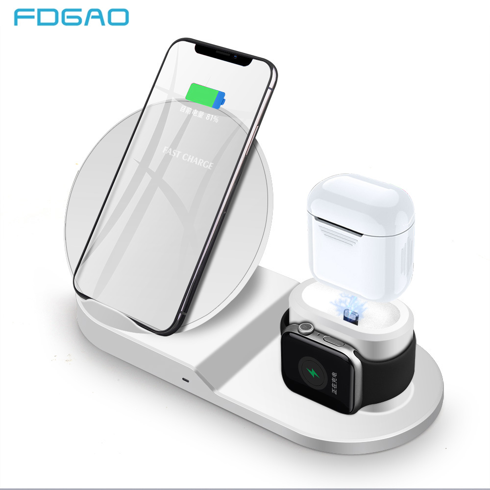 1187f02b060 Fdgao rápido cargador inalámbrico para iPhone XS XR XS Max X 8 Plus Apple  Watch 4 3 2 AirPods 10 W 3 en 1 de carga Qi para Samsung S8 S9