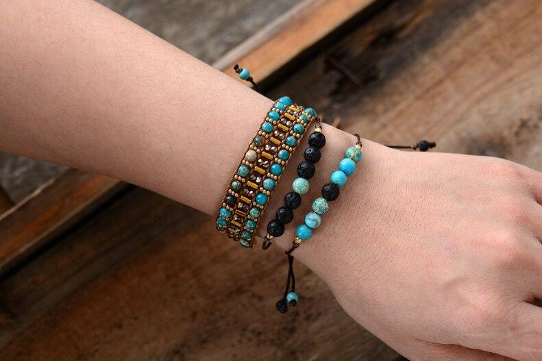Eenvoudige Armbanden Mode Natuurlijke Stenen Lava Stone Verstelbare Armband Handgemaakte Kralen Boho Armbanden Dropship Sieraden