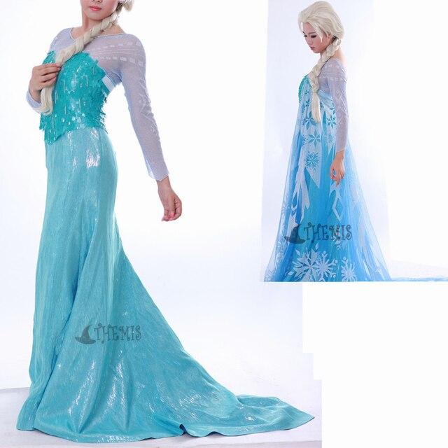 Athemis Ice Blue Dress Large Size Elsa Cosplay Costume