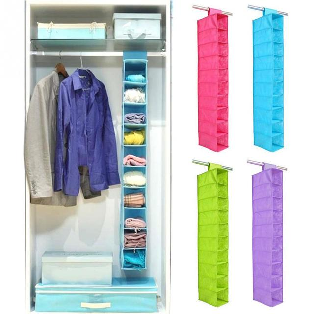 10 Layer Small Clothes Bureau Hanging Storage Organizer Closet Tidy Home  Foldable Non Woven Storage Bag