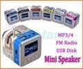 Iluminação de cristal mini speaker portátil de música digital de rádio micro sd/tf Disco do USB mp3 rádio fm Lcd rádio relógio falante 028