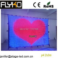 Good quality p4 2x3m led video curtain