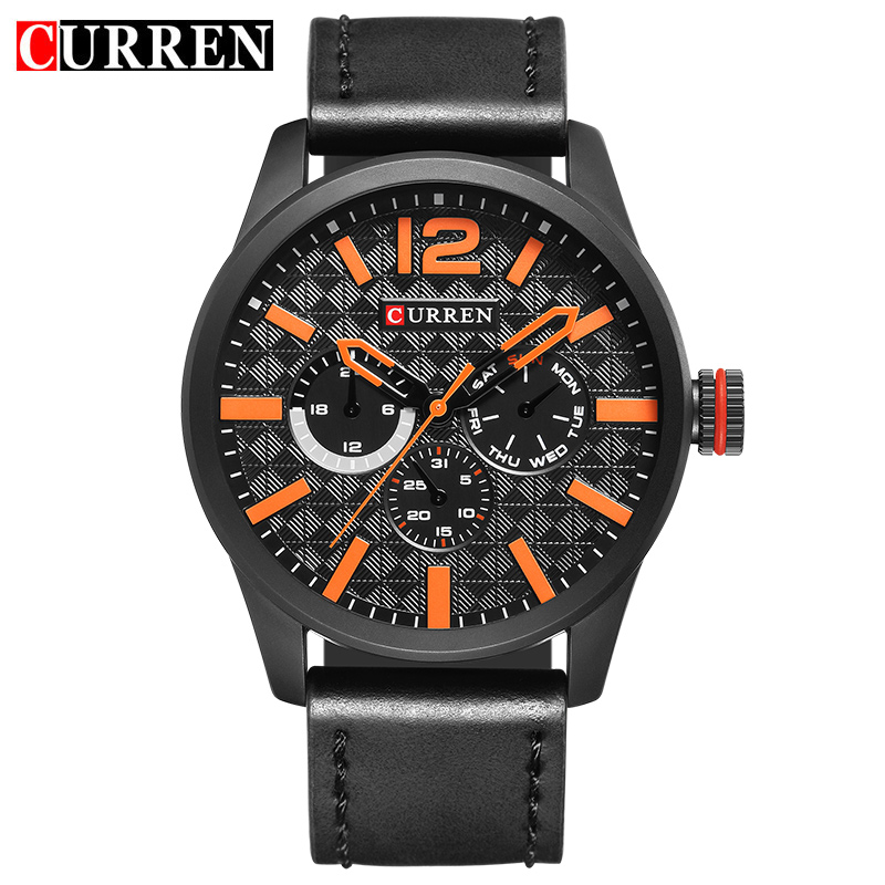 2017 New Curren Mens Watches Top Brand Luxury Leather Quartz Watch Men Wristwatch Fashion Casual Sport Clock Watch Relogio 8247 curren golden quartz watches men luxury top brand fashion men s watch genuine leather sport casual wristwatch relogio masculino