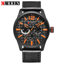 2017 Nueva Curren Mens Relojes de Primeras Marcas de Lujo Reloj Hombres Reloj de Cuarzo de Cuero Moda Casual Sport Reloj Reloj Del Relogio 8247