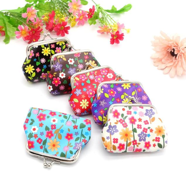 Coin Purse Mini Wallet Womens Pouch Bag Girls Flower Designer PU Leather Wallet Key Card Holder Clutch Handbag hcandice womens wallet card holder coin purse clutch bag handbag best gift wholesale jan29