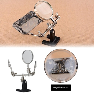 5X Magnifying Glass Third Hand Soldering Iron Stand Helping Clamp Vise Clip Tool 60mm Magnifier Alligator Clip Holder Clamp