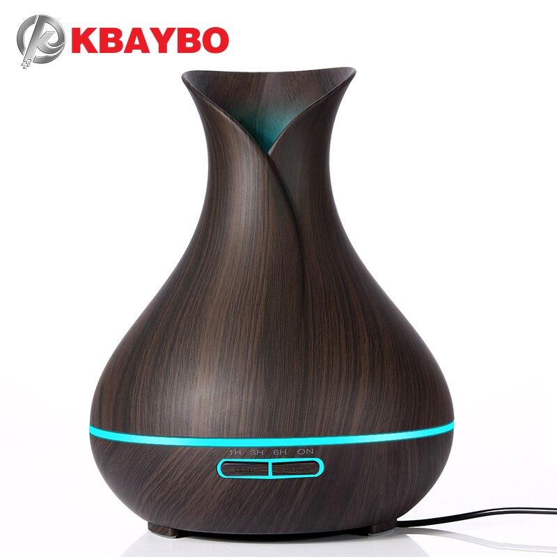 KBAYBO 400 ml Duft Ätherisches Öl Diffusor Ultraschall Luftbefeuchter mit Holzmaserung elektrische Led-leuchten aroma diffusor für zuhause