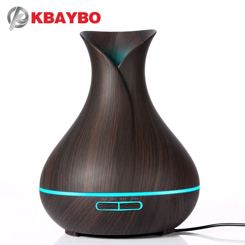 KBAYBO 400 ml Aroma difusor de aceite esencial humidificador de aire ultrasónico con grano de madera eléctrica LED aroma difusor para el hogar