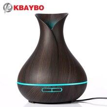 KBAYBO 400 ml Olejek Aroma Dyfuzor Ultradźwiękowy Nawilżacz Powietrza z Drewna Ziarna elektryczne aromat dyfuzora Światła LED dla domu