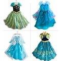 Niños Vestido de La Muchacha Vestido de Princesa Elsa Anna Vestido de Verano de Diamantes de Manga Larga Vestido de Traje, cuatro Diseños, tamaño 110-150, LC01