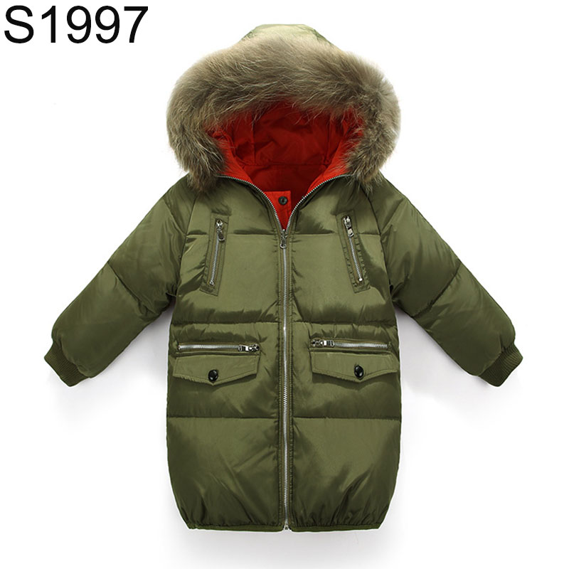 Big Boy's Long Duck Down Coat Teenagers Large Fur Collar Hooded Winter Jacket Parkas Children Long Sleeve Thick Warm Clothes 2014 children s clothing baby down coat set large fur collar red male