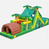 12m Long Coconut Palm Inflatable Obstacle Course With Slide Bouncy Castle Inflatable Biggors For Water Park Equipment