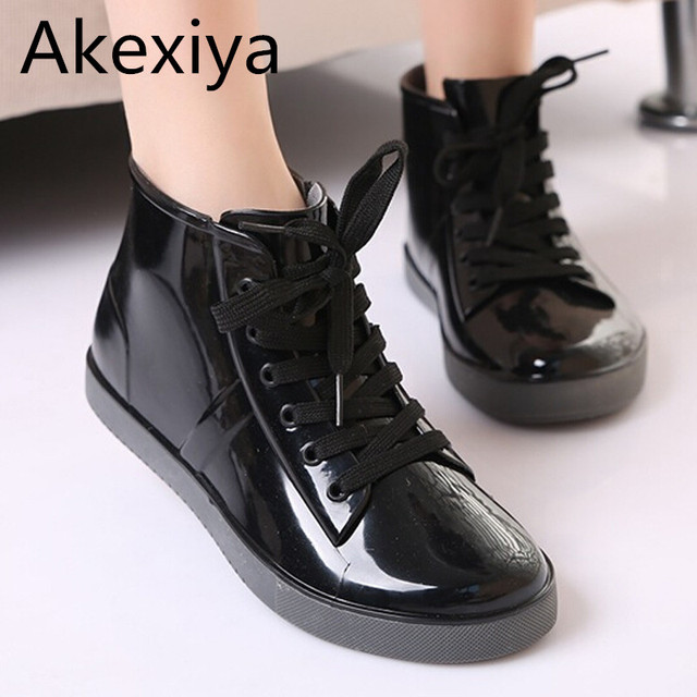 5ff909ad45a Akexiya Lace-Up Rain Boots Fashion Solid Ladies Flats Ankle Boots Casual  Silver Women Boots Shoes Woman 4 Colors Size 35-40