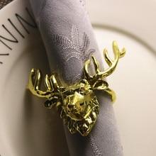 4PCS Metal Christmas Deer Napkin Ornament Hotel Party Home Supplies