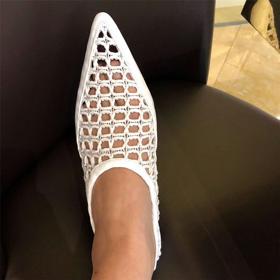Black Richelieus D'été white Air Zapatos Mujer Chaussures Creepers Maille Confortable Femmes Cuir Creux En Plat Appartements Pointu Muller USnxadBR