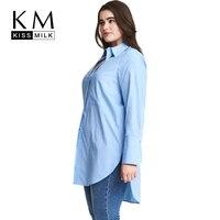 Kissmilk Big Size Women Clothing Side Split Solid Casual Loose Button Turn Down Collar Long Sleeve