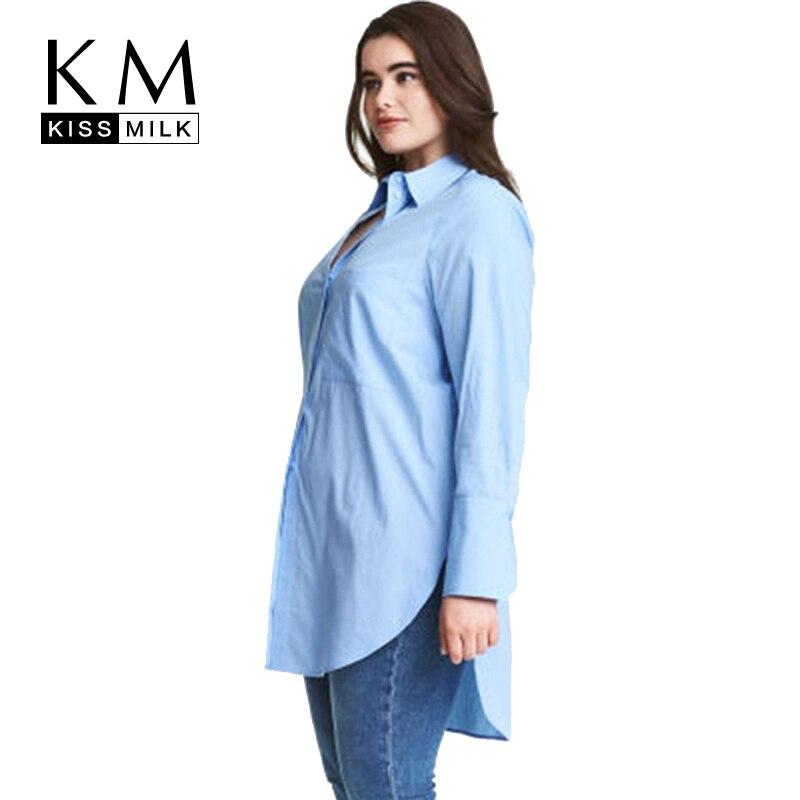 Kissmilk Big Size Women Clothing Side Split Solid Casual