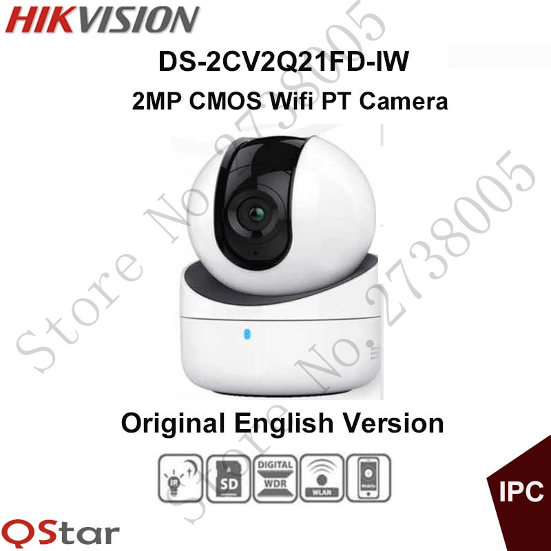Hikvision mini wifi PT Camera HD1080P CMOS PT IP Camera built in microphone and speaker SD Card DS-2CV2Q21FD-IW Original English