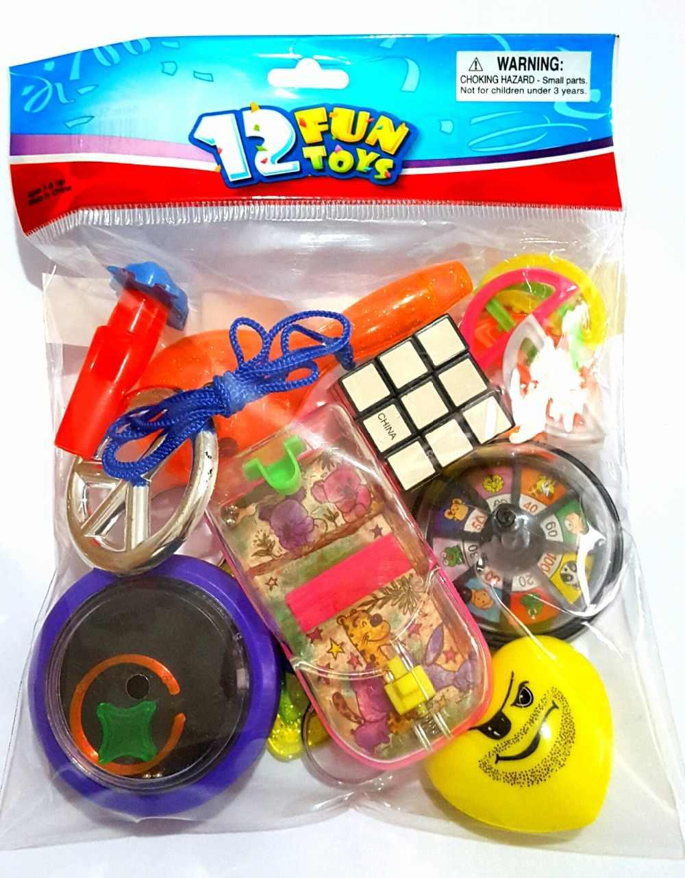 12 шт. Забавные игрушки унисекс MIX-C для детей, мальчиков и девочек, детские сувениры для вечеринки ко дню рождения, пината, сумка, наполнитель, кляп, подарки на удачу Подарочная Новинка