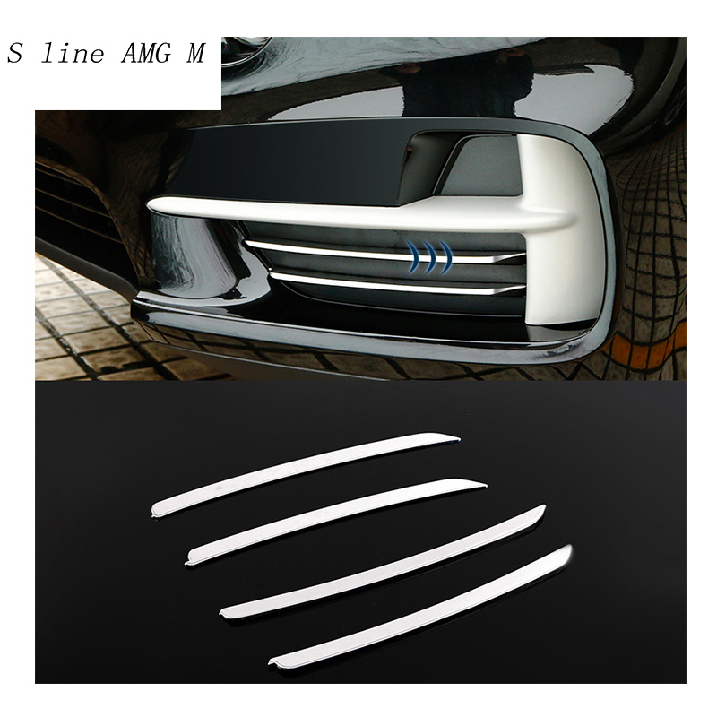 Car styling stainless steel Cover Front Fog Lamp Strips Trim decorative Stickers For BMW X5 F15 2014-2017 auto Accessories bjmycyy 2 pcs car styling stainless steel small speaker circle patch stickers cover casw for chevrolet trax 2014 accessories