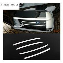 Автомобиль Стайлинг нержавеющей стали крышка передняя противотуманная лампа полосы Отделка Декоративные наклейки для BMW X5 F15 2014-2017 авто аксессуары