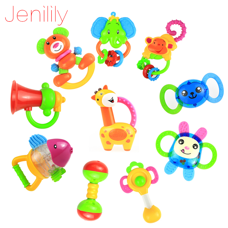 Jenilily 10pcs/Lots Fun Plastic Baby Rattles Toy 0-1 Year Old Newborn Baby Hand Rattles Combination Toddler Toys Free Shipping