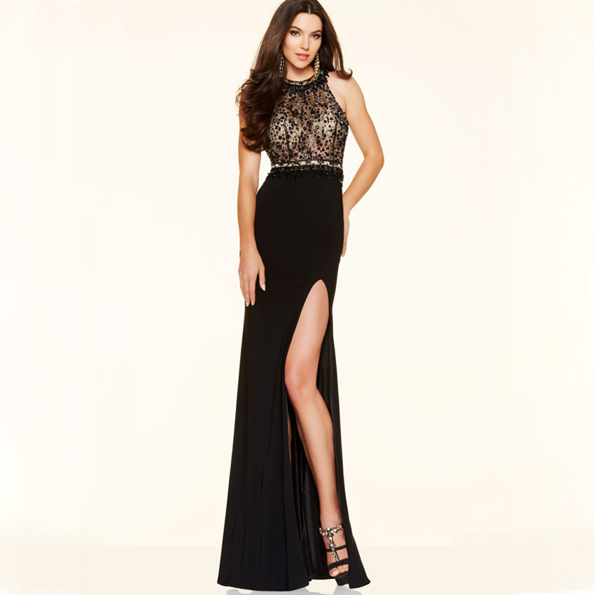 Vnaix Wp1227 Black Satin Chiffon Straight Formal Prom Dress With