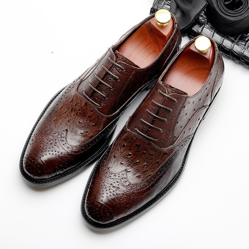 Summer Genuine Cow Leather Brogue Wedding Shoes Mens Casual Flats Shoes Vintage Handmade Oxford Shoes For Men Black Wine Red