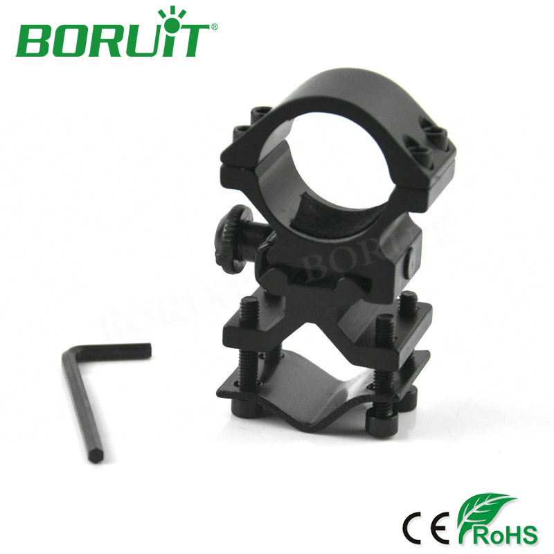 BORUiT Universal Rail Mount Bracket 25-30mm Metal Alloy Flashlight Holder Dual Hole Clip Signet Clamp For Gun Rail Bracket 10w led 60 degrees flood beam work light w cree xml t6 10 30v