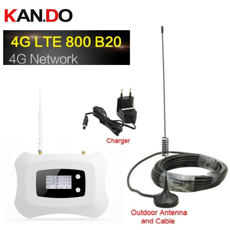 4G LTE 800 mhz bande 20 70dB amplificateur de Signal de téléphone portable amplificateur cellulaire LTE 800 répéteur Mobile 4G Booster avec ensemble d'antenne