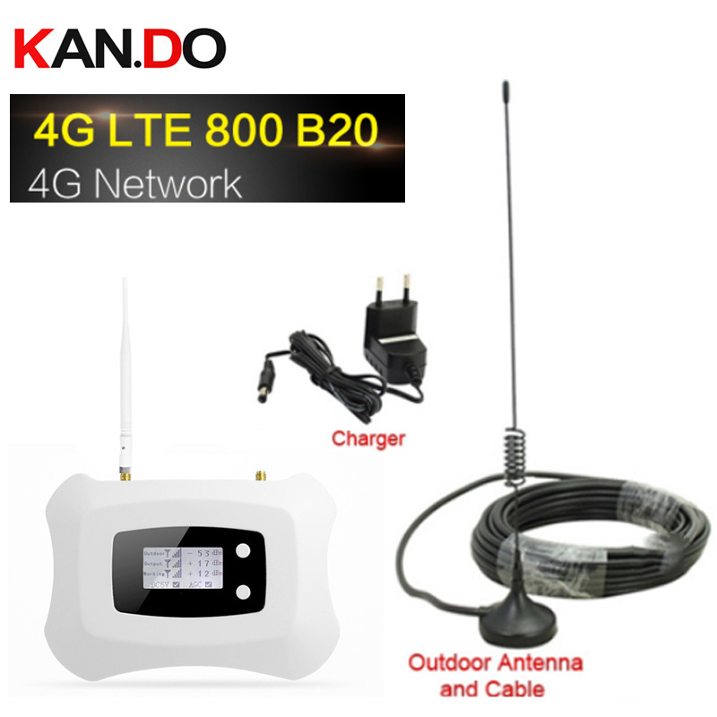 4G LTE 800mhz Band 20 70dB Cell Phone Signal Amplifier Cellular Booster LTE 800 Mobile Repeater 4G Booster With Antenna Set